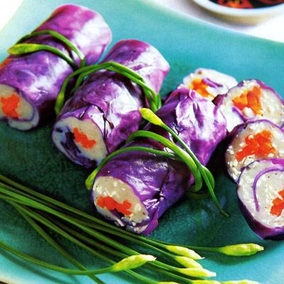 Chả cá thu cuốn bắp cải tím giảm cân