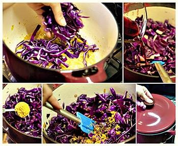 Bắp cải tím nấu táo và nước xốt quả lý chua